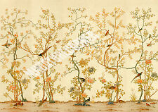 Dolls House Wallpaper Mural Beige Birds 1/12th scale Quality Paper #14 Miniature