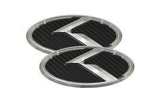 3D K Logo Emblem Carbon Fiber 2pc Front + Rear (Fit: KIA 2011-2017 Optima K5)