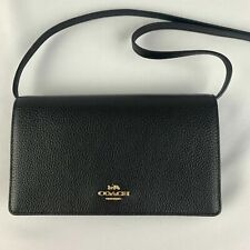 New Authentic COACH F30256 FOLDOVER CROSSBODY CLUTCH Pebbled Leather Black