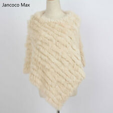 2020 New Knitted Real Fur Women Poncho Shawl Cape Fashion Ladies Soft Wrap31071N