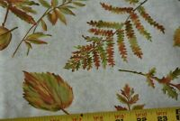 By 1/2 Yd, Brown & Green Leaves & Ferns Quilt Fabric/Oakhurst/Signature, N4241