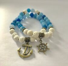 2 PIECE SET NATURAL WHITE LAVA+BLUE AGATE LAVA STONES BEADED WITH ANCHORS