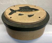 "Oval Box With Fish Lid 7"" Wood & Rigid Cardboard Trinket Gift Keepsakes"
