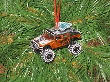 Jada 2006 Hummer H1 Copper Orange Custom Christmas Ornament w/tree,snow R