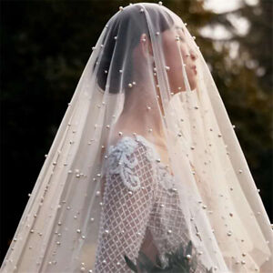 1 T Bridal Wedding Veils Pearls Tulle Ivory White Champagne Cathedral Long Bride