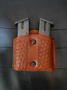 DS004 Basketweave Design Leather Double Magazine Pouch/Case Colt 1911 Handmade!