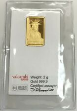 1985 CREDIT SUISSE SWISSS GOLD 2 GRAMS .9999 FINE STATUE LIBERTY SEALED BAR COA