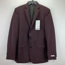 Bar III Mens Slim Fit Active Stretch Solid Suit Wine 40L 32x34