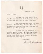 Autograph on typed letter, jazz singer Annette Hanshaw, 1935