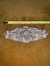 Wedding Dress Applique Rhinestone Crystal Trimming DIY Motif Bridal Pearl Deco