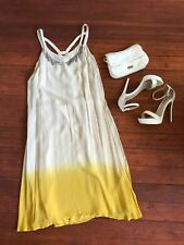 GUESS Designer Yellow Beige Dress Casual Party Beach Festival US Size S UK 6