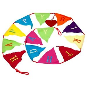 2m Long Happy Birthday Fabric Bunting Garland In Bright Colours Reusable
