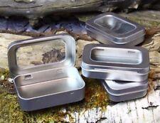 SURVIVAL KIT TIN HINGED WINDOW LID Silver Small Empty Plain Metal Storage Box