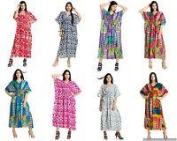 Womens New Kaftan Beach Wear Boho Indian Ikat Cotton Bikini Wear Plus Size Tunic