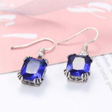 Fashion Jewelry Gift Swiss Blue Topaz Gemstone Silver Woman Dangle Hook Earrings