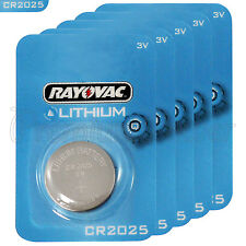 5 x Rayovac CR2025 batteries Lithium 3V Coin cell Watch ECR2025 BR2025