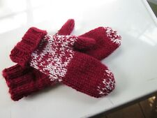 """Mittens Hand Knit Double Strand Super Soft Andes Wool Yarn Cranberry White 8x12"""""""