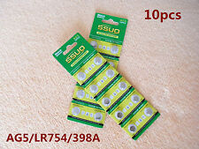 10pcs AG5/LR754/398A Button Cell Coin JAPAN STD Alkaline Battery 1.55V  Watches
