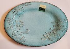 Cynthia Rowley SERVING TRAY PLATTER MELAMINE Floral Oval Blue Aphorism