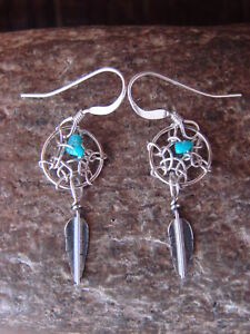 Navajo Indian Sterling Silver Turquoise Dreamcatcher Feather Earrings! Arviso