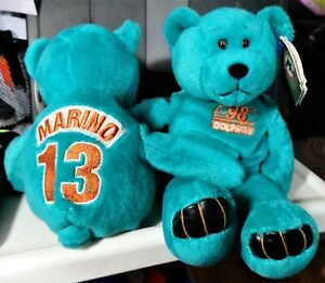 "Limited Treasures DAN MARINO #13 Green Football Bear 9"" bean bag-1998-New-w/tags"