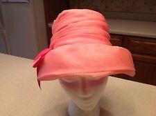 Vintage Ladies Hat Pink Chiffon With Pink Satin Bow. Clean Carson Pirie Scott