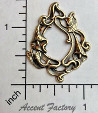 31493 - 2 Pc Oxidized Brass Victorian Floral Spray Jewelry Finding Stamping