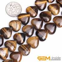 "Natural Gemstone Tiger's Eye Heart Shape Loose Beads For Jewelry Making 15"" YB"