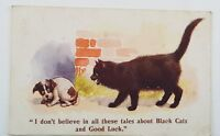 1939 Cat and Dog Postcard Black Cats and Good Luck Half Penny Stamp