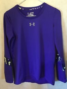 YXL Under Armour Girl's Long Sleeve Athletic Shirt Blurred Sleeves Cold Gear
