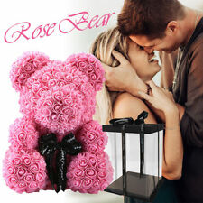 Rose Bear Flower Doll Toy Birthday Valentine Wedding Party Decor Gift Craft 38cm