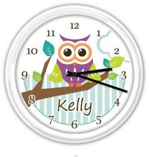 Owl PERSONALIZED SILENT Wall Clock Girls Bedroom Baby Nursery - GREAT GIFT