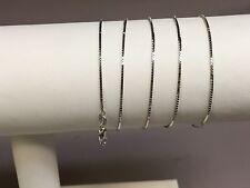 "14k White Gold Box Link Pendant Chain/Necklace 20"" 2 grams (WBOX053)"