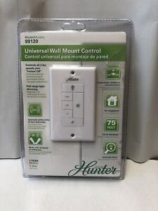 NEW Hunter White Universal Wall Mount Control for Ceiling Fan/Light 99120