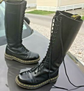 Dr Martens 1420 black leather boots UK 6 EU 39 Made in Thailand 20 eye