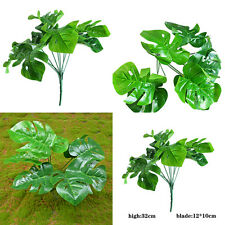 12.8inch Turtle Leaves Palm 9 Stems Small Bush Tree Outdoor Plants Decor