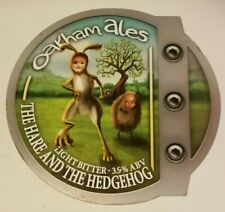 Beer pump clip badge front OAKHAM brewery HARE AND HEDGEHOG cask ale
