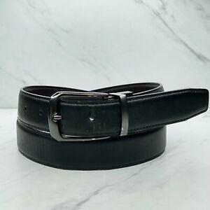 Nike Black Brown Reversible Vegan Faux Leather Belt Size 36