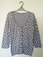 NEW EX WHITE STUFF UK SIZE 8 10 12  COTTON GREY SPOTTED CARDIGAN CARDI