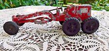 VINTAGE 1950's HUBLEY RED METAL TOY ROAD GRADER