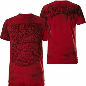AFFLICTION CAUSEWAY T shirt NEW Flocked Graphic Mens MEDIUM Tee