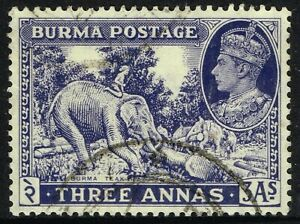 SG 57a BURMA 1946 - 3a BLUE-VIOLET - USED