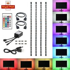 4pcs USB Strip Light Mood Light RGB LED Multi Color TV Backlight Remote Control