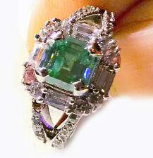 2.42 ct VVS1>Emerald Blue Moissanite Diamond & White Baguette .925 silver Ring