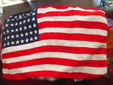 "Vtg 40s 50s 48 star flag USA  silk rayon 22x14"" MINI SIZE"