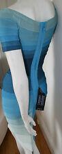 authentic Herve Leger ombre blue stretch bandage Johanna cocktail dress new XS