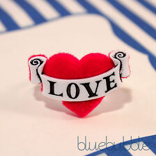 FUNKY RED TATTOO LOVE HEART RING CUTE KITSCH RETRO SAILOR ROCKABILLY PIN UP EMO