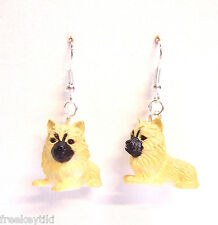 "NEW Pomeranian Dogs Puppies 1"" Mini Figures Figurines Dangle Earrings"