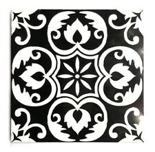 Black White 6x6 Floral Carved in Marble Stone Tile Backsplash Wall Kitchen Bath