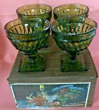 4 NEW Vintage Indiana Glass MOUNT VERNON Olive Green Sherbet Dish ORIGINAL BOX